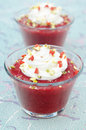 Dessert strawberry jam whipped cream glass beaker Royalty Free Stock Photography