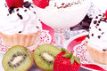 Dessert - sweet cakes with strawberry and kivi Stock Images