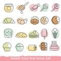 Dessert and sweet icon set
