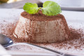 Dessert sweet italian panna cotta with a cocoa powder and mint on the top on a white plate Royalty Free Stock Photo