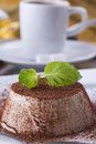Dessert sweet italian panna cotta with a cocoa powder and mint on the top on a white plate Stock Photo