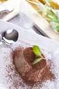 Dessert sweet italian panna cotta with a cocoa powder and mint on the top on a white plate Stock Photography
