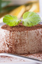 Dessert sweet italian panna cotta with a cocoa powder and mint on the top on a white plate Stock Images