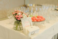 Dessert table decorated at restaurant Stock Photo