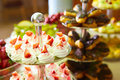Dessert table for party akes and sweetness shallow dof a Royalty Free Stock Image