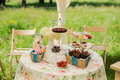 Dessert table for a party ombre cake cupcakes sweetness and flowers cocktail Stock Image