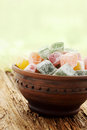 Dessert for tea delicious turkish delight on the old board Stock Photography