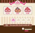 Dessert theme for web template with cakes Royalty Free Stock Image