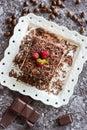Dessert Tiramisu Cake with Grated Chocolate, Raspberry and Mint Royalty Free Stock Photo