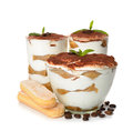 Dessert tiramisu on white background Royalty Free Stock Images