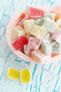 Dessert turkish delight delicious on the cracked board Stock Photos