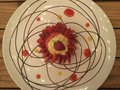 stock image of  dessert. Vanilla custard tart with fresh strawberry . Top view.