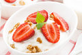 Dessert with whipped cream granola and fresh strawberries close up horizontal Royalty Free Stock Photos