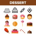 Desserts, Pastry, Sweets Vector Color Icons Set