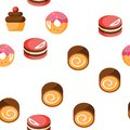 Desserts, Pastry, Sweets Vector Seamless Pattern