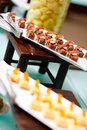 Desserts at restaurant buffet table Stock Photography