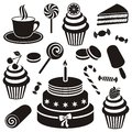 Desserts and sweets icon black vector silhouette collection Stock Images
