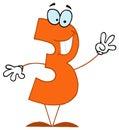 Dessin animé drôle Numbers-3 Photographie stock libre de droits