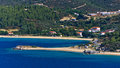 Destenika beach with campers favorite site for summer vacations in Sithonia