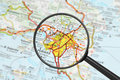 Destination - Athens (with magnifying glass) Royalty Free Stock Images