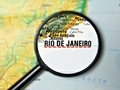 Destination rio de janiero close up of under a magnifying glass on a map Stock Image