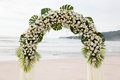 Destination wedding on the beach ceremony setup for a Royalty Free Stock Image