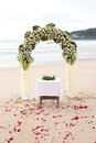 Destination wedding on the beach ceremony setup for a Royalty Free Stock Photo