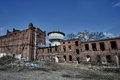 Destroyed and abandoned industrial buildings Royalty Free Stock Photo