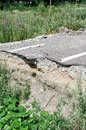 Destroyed asphalt road by earthquake Royalty Free Stock Image