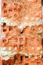 Destroyed brick close-up, background