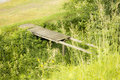 Destroyed bridge the old wooden surrounded by greenery Stock Photos