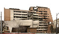 Destroyed building on Nemanjina street in Belgrade. Serbia Royalty Free Stock Photo