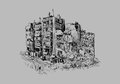 Destroyed building sketch of on gray Royalty Free Stock Photo