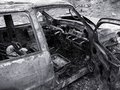 Destroyed Burned Car Stock Images