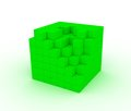 The destroyed green cube Royalty Free Stock Photos