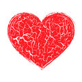 Destroyed heart on white background Stock Photography