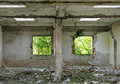 Destroyed house interior of overgrown Royalty Free Stock Photography