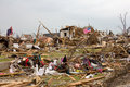 Destroyed House Joplin Missouri Tornado Flag Stock Photos