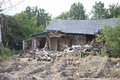 Destroyed house an old building being with lot s of debris Stock Photo