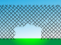 Destroyed wire barrier ready escape detention Stock Photo
