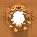 Destrucción de una pared de ladrillo Imagenes de archivo