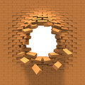 Destruction of a brick wall Stock Images