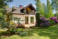 Detached house and beauty garden Royalty Free Stock Photo