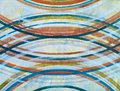 A detail from an abstract painting; concentric rings on a dull grunge backbround