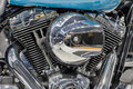 Detail of  air cooled twin engine with integrated oil cooler of Royalty Free Stock Photo
