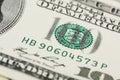 Detail of american hundred dollar bill horizontal Royalty Free Stock Image