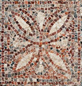 Detail of an ancient colorful mosaic fragment floor small tiles unusual geometric ornament floral and regular forms israel Stock Image