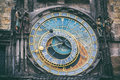 Detail of the astronomical clock in the Old Town Square in Prague, Czech Republic. Toned image Royalty Free Stock Photo