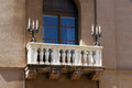 Detail of balcony with candle holders Royalty Free Stock Photo