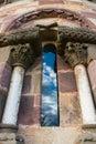 Detail of beautiful window in romanesque abse in san esteban de closeup view the church aramil asturias spain Stock Photos